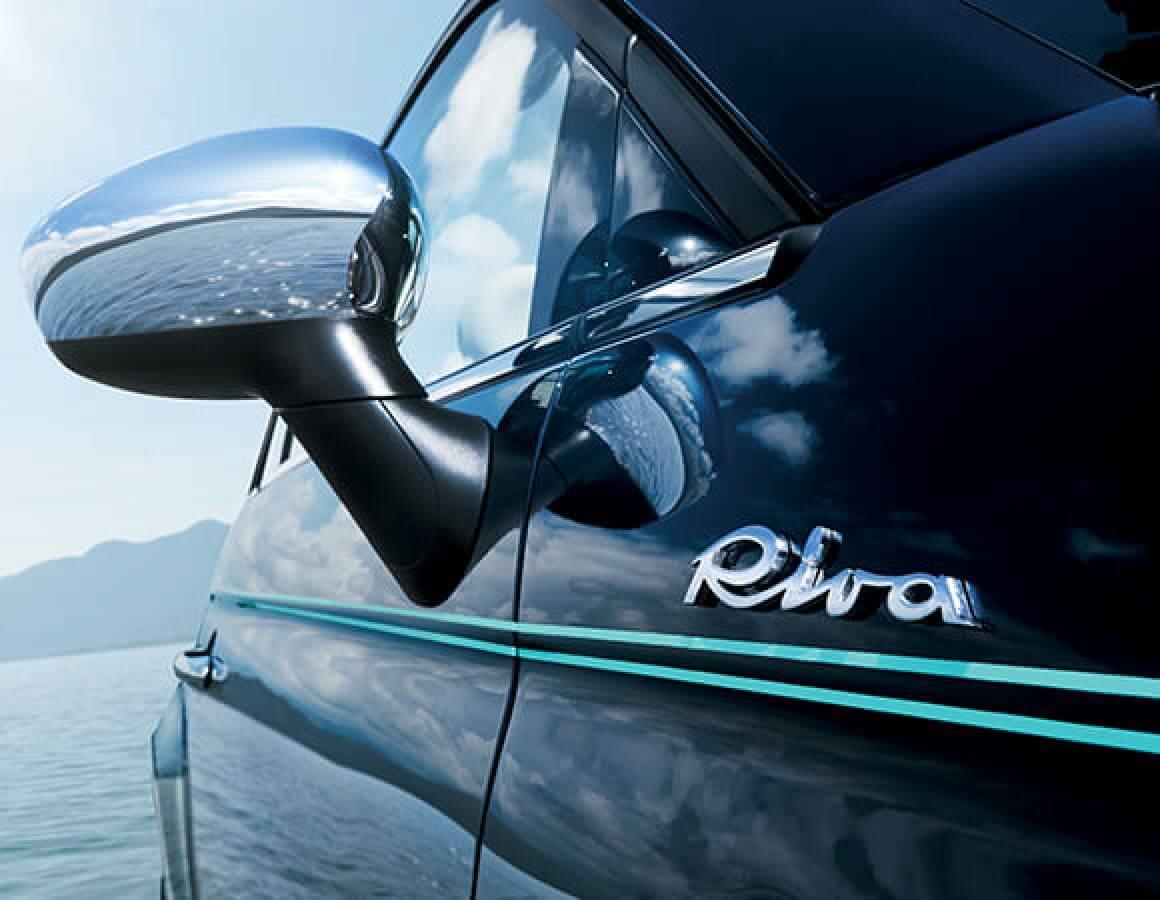 Specchietto e logo Fiat 500 Riva